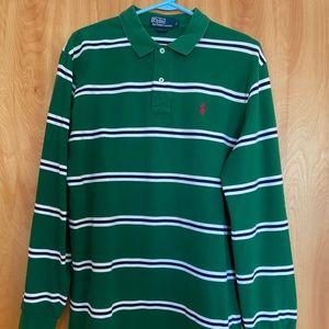 Polo Long Sleeve Green/White